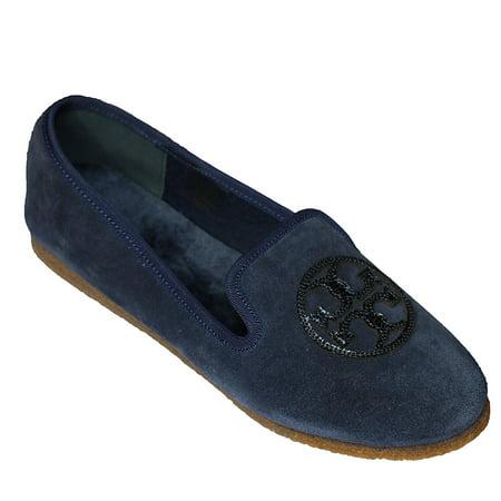 Tory Burch Billy Slipper Split Suede Leather Mirror Craqulee Logo (9, Navy Blue)](Bloch Shoes)