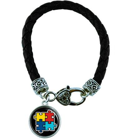 Autism Awareness Black Leather Bracelet Jewelry