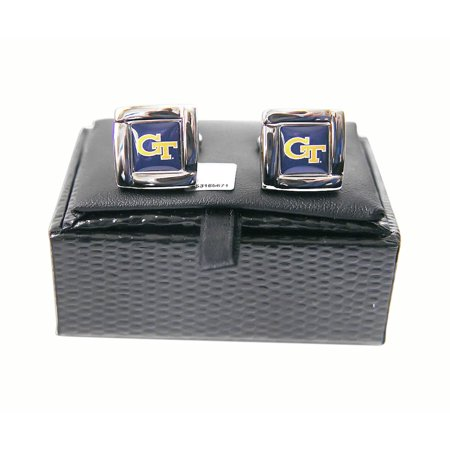 Celtic Design Cufflinks (NCAA Georgia Tech Yellow Jackets Square Cufflinks with Square Shape Logo Design Gift Box Set )