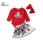 Baby Girl Infant Christmas Santa Tops+Bowknot Tutu Dress Outfits 3pcs Clothes