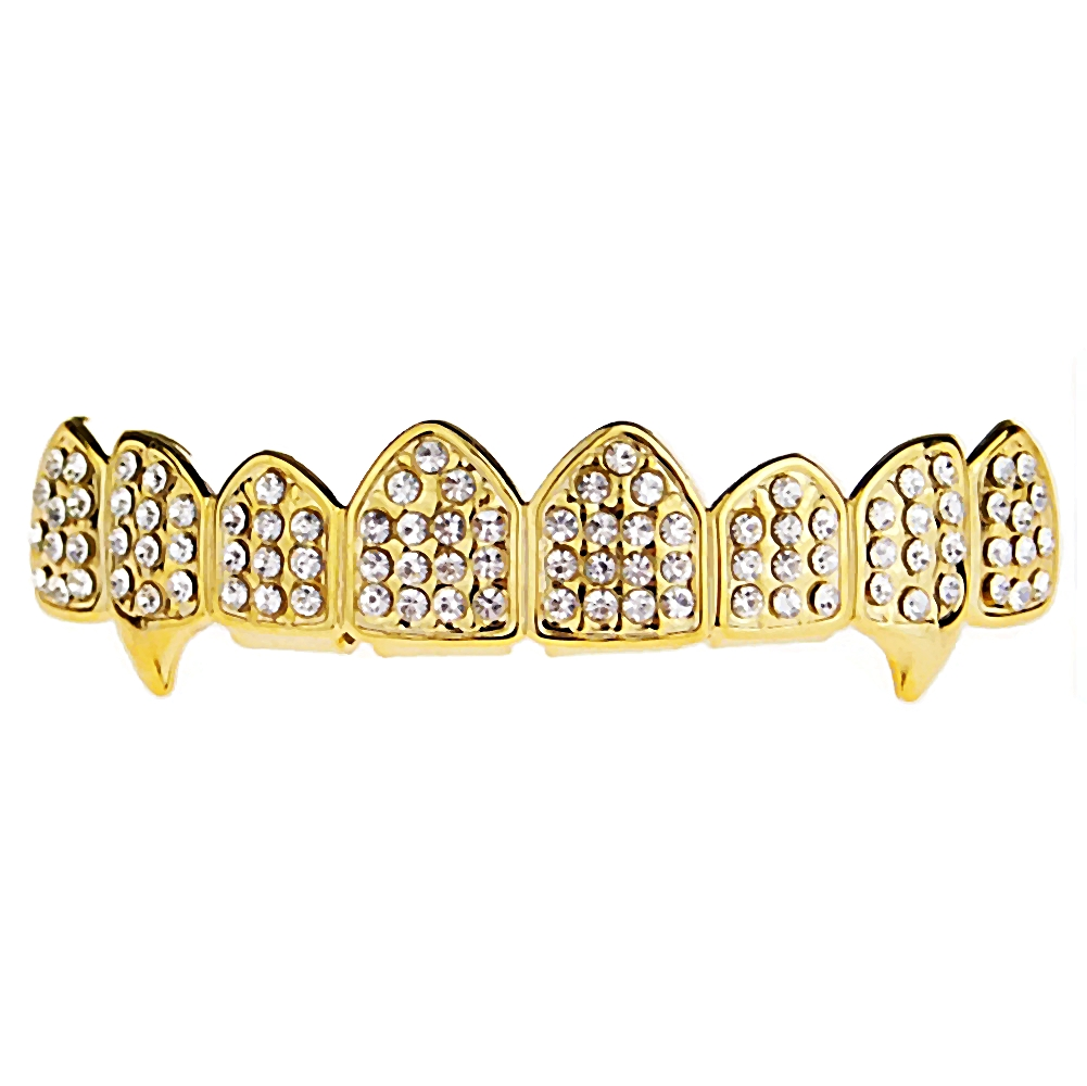 14k Gold Plated Fang Grillz Eight Tooth Iced-Out Top 8 Teeth Hip Hop Mens Vampire Grills