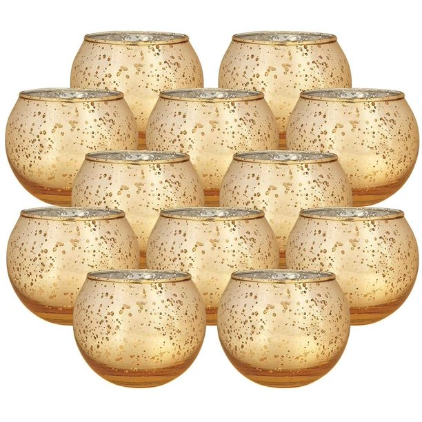 Just Artifacts Set Of 12 Round Mercury Glass Votive Candle Holder Speckled Gold Mercury Glass Votive Tealight Candle Holders For Weddings Parties And Home Decor Walmart Com Walmart Com
