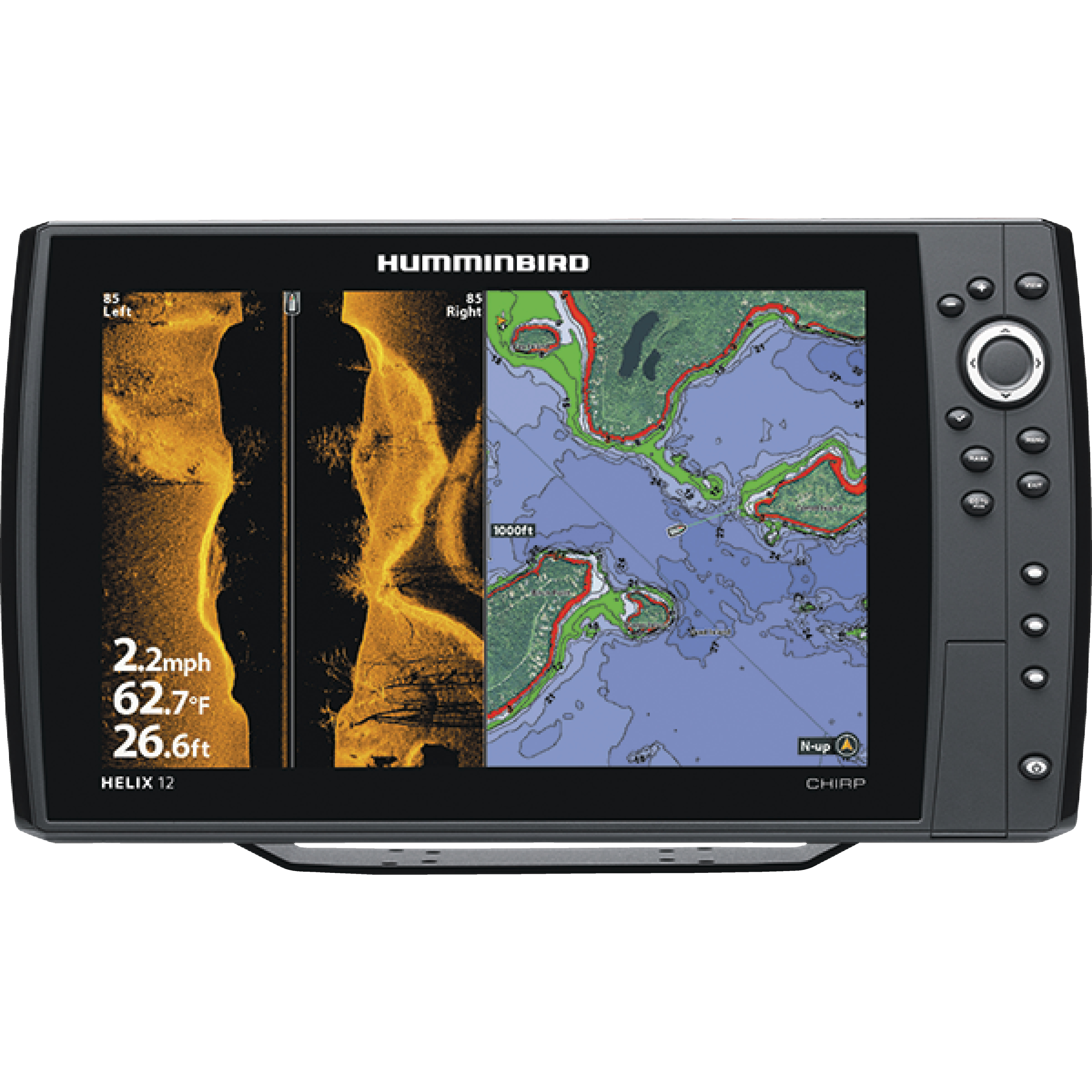 "Humminbird 410030-1 HELIX 12 CHIRP SI GPS Sonar Fishfinder & Chartplotter with Down & Side Imaging & 12.1"" HD Display"