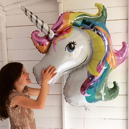 Large Size Rainbow Unicorn Shape Foil Balloon Air Mylar Ballons Outdoor Party Wedding Decoration Event Party Supplies for $<!---->