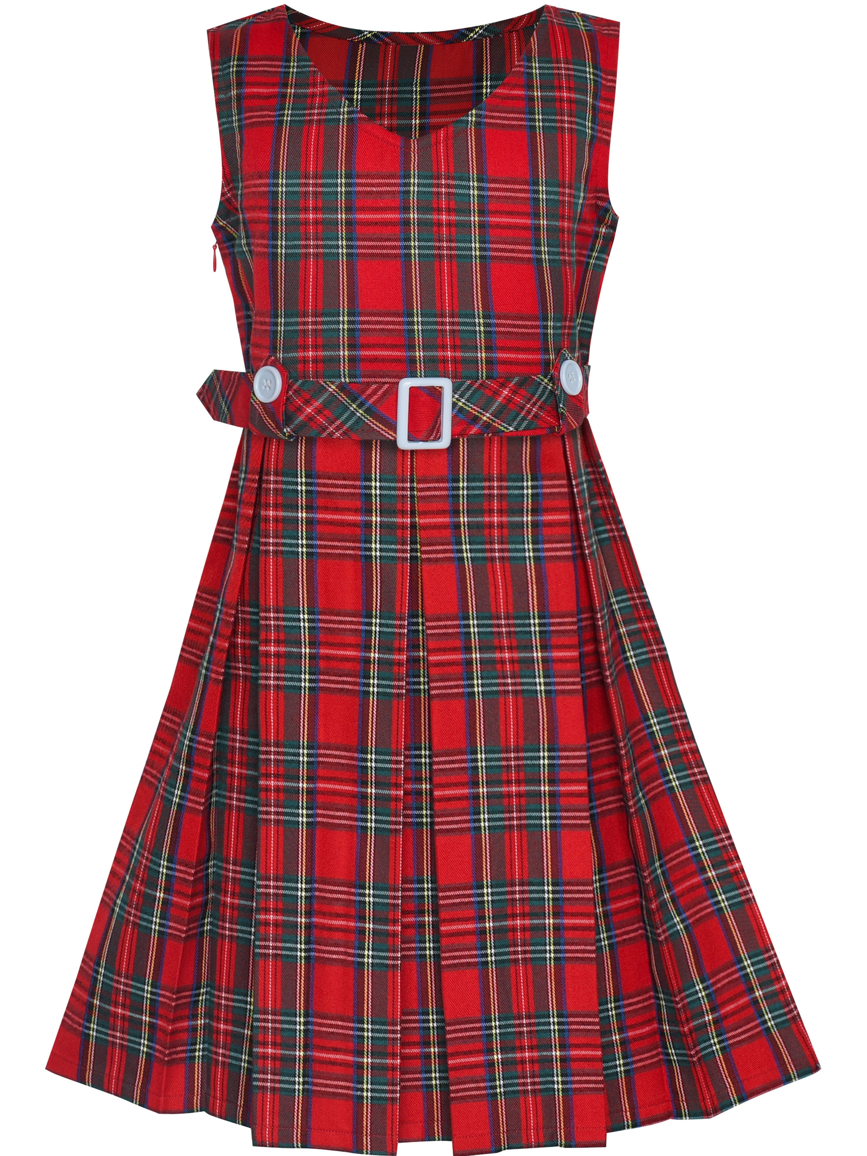 Girls Dress Red Tartan Button Back School Pleated Hem 14 Years