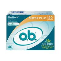 o.b. Original Applicator-Free Tampons, Unscented, Super Plus, 40 Ct