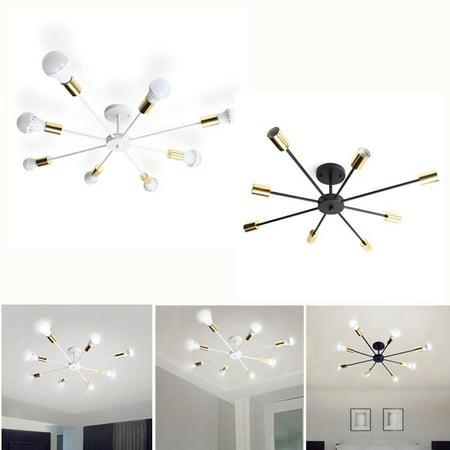 Black White Modern Style Flush Mount Designers Metal 8-Light Ceiling Lamp Chandelier Lighting Fixure Home Decoration for Dining Room Kitchen Living Room ()