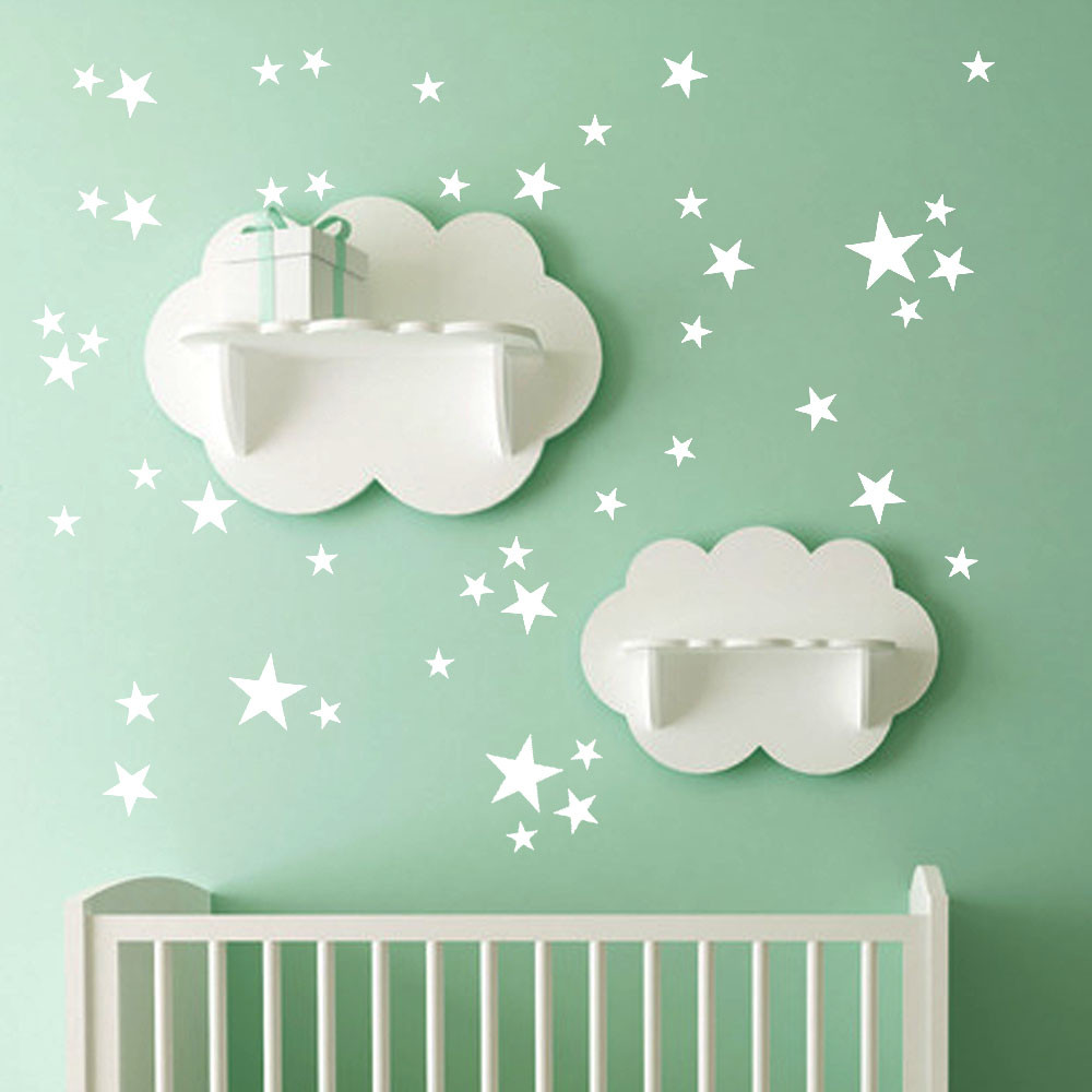 51Pcs Star Removable Art Vinyl Mural Home Room Decor Kids Rooms Wall Stickers