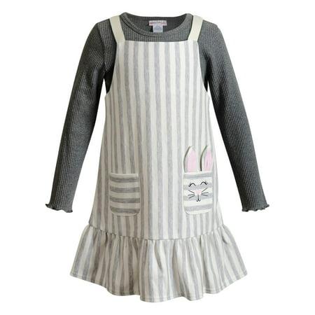 Youngland Ruffle Jumper Dress & Long Sleeve Top (Little Girls) Cotton Spandex Jumper