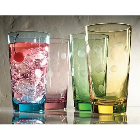 Artland Inc. Polka Dot 20 oz. HiBall Glasses - Set of 4 - Polka Dot Glasses