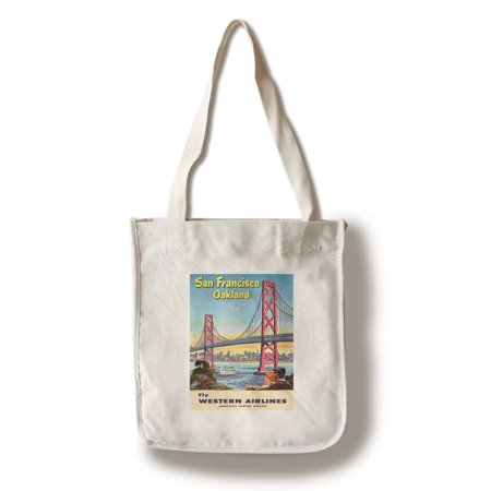 Western Airlines (Western Airlines - San Francisco - (c. 1953) - Vintage Advertisement (100% Cotton Tote Bag -)