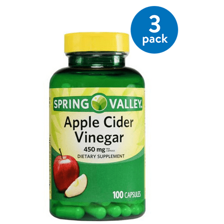 (3 Pack) Spring Valley Apple Cider Vinegar Capsules, 450 Mg, 100 Ct