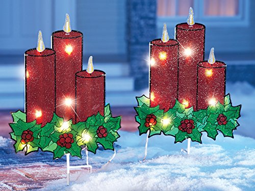 Lighted Christmas Candle Garden Stakes   Set Of 2