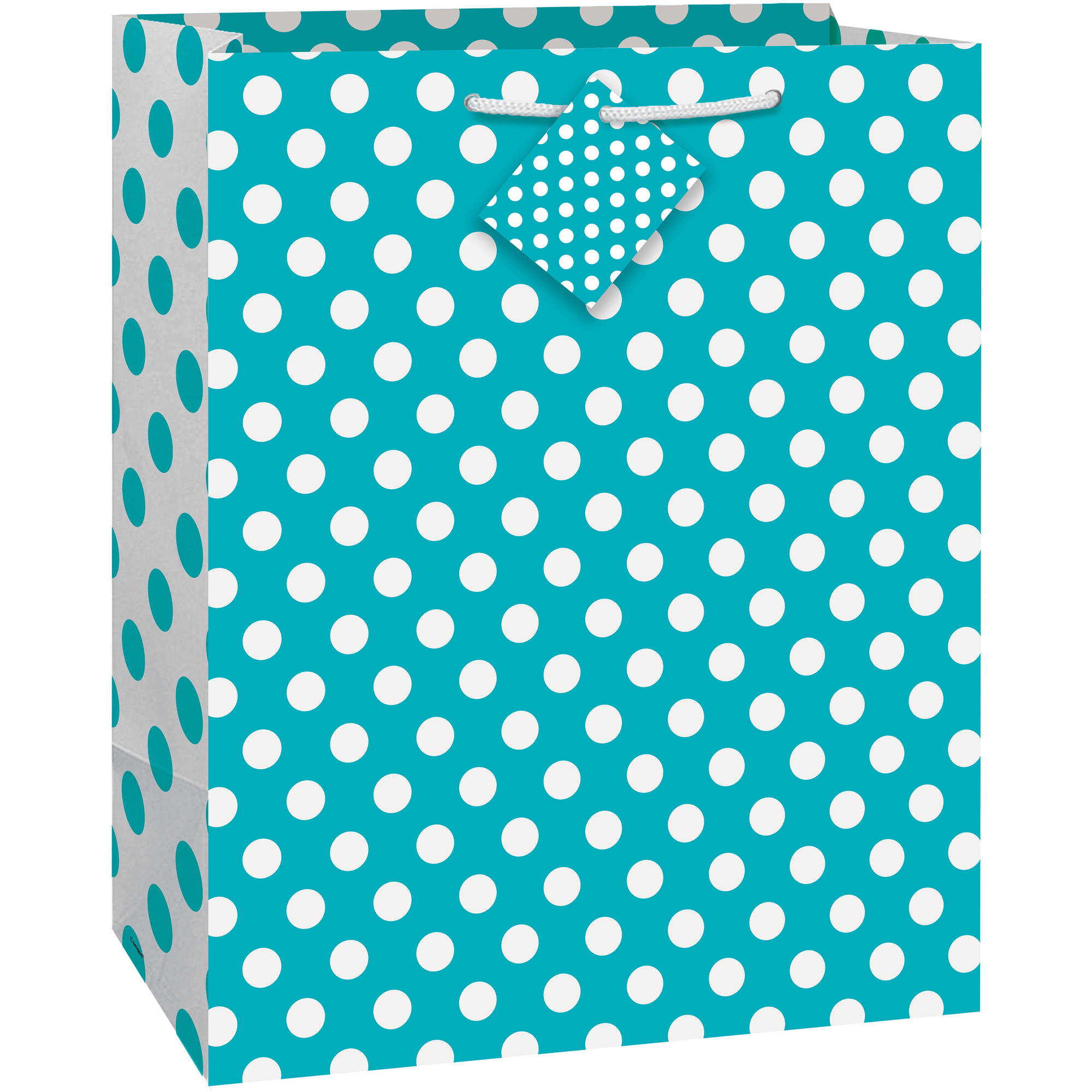 "Teal Polka Dot Gift Bag, 12.75"" x 10.5"""
