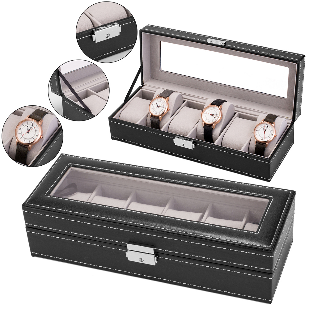 Zimtown Jewelry Watches Storage Box Black for 6 Slots Leather Watch Box Display Case with Glass Mirror