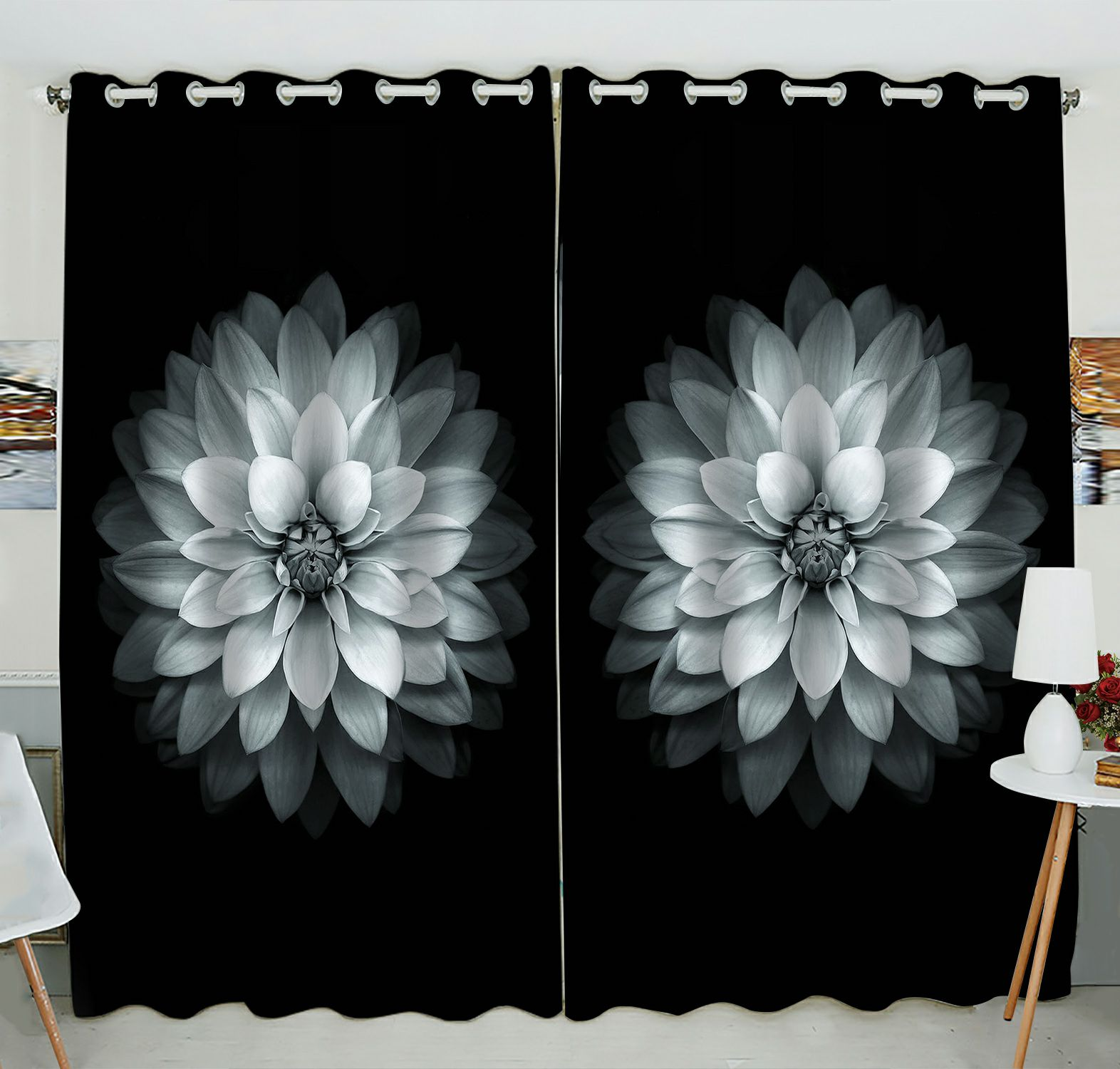 ZKGK Dahlia Floral Pattern Window Curtain Drapery/Panels/Treatment For Living Room Bedroom Kids Rooms 52x84 inches Two Panel