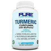 Turmeric Curcumin | BioPerine Black Pepper Extract | Reduce Inflammation + Joint Support | High Potency Anti Inflammatory | 1200mg + 95% Curcuminoids | Natural + Non-GMO + Gluten Free | Made in USA