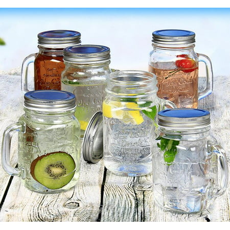 Estilo Mason Jar Mugs with Handle and Straws Old Fashioned Drinking Glass Set 6, 16 oz Each - Custom Drinking Glasses