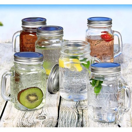 Estilo Mason Jar Mugs with Handle and Straws Old Fashioned Drinking Glass Set 6, 16 oz Each](Mason Jar Wine Glasses Bulk)