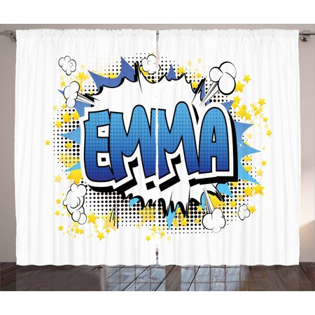 Emma Curtains 2 Panels Set, Youthful Energetic Name Design for Teenage Girls Cartoon Stars and Burst, Window Drapes for Living Room Bedroom, 108W X 84L Inches, Blue Yellow and Black, by