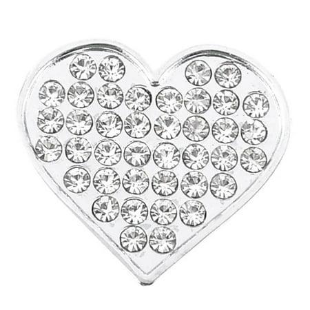 Heart Pattern Rhinestones Decor Adhesive Back Emblem Sticker Silver Tone for Car ()