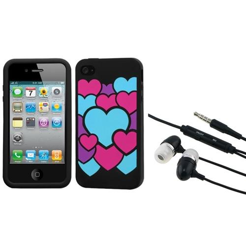 Insten Colorful Love/Black Pastel Case Cover For iPhone 4 4S   3.5mm Headset