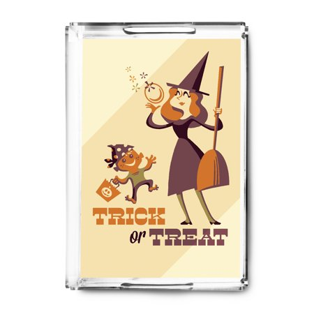 Trick or Treat - Mom & Son - Retro Halloween - Lantern Press Artwork (Acrylic Serving Tray)