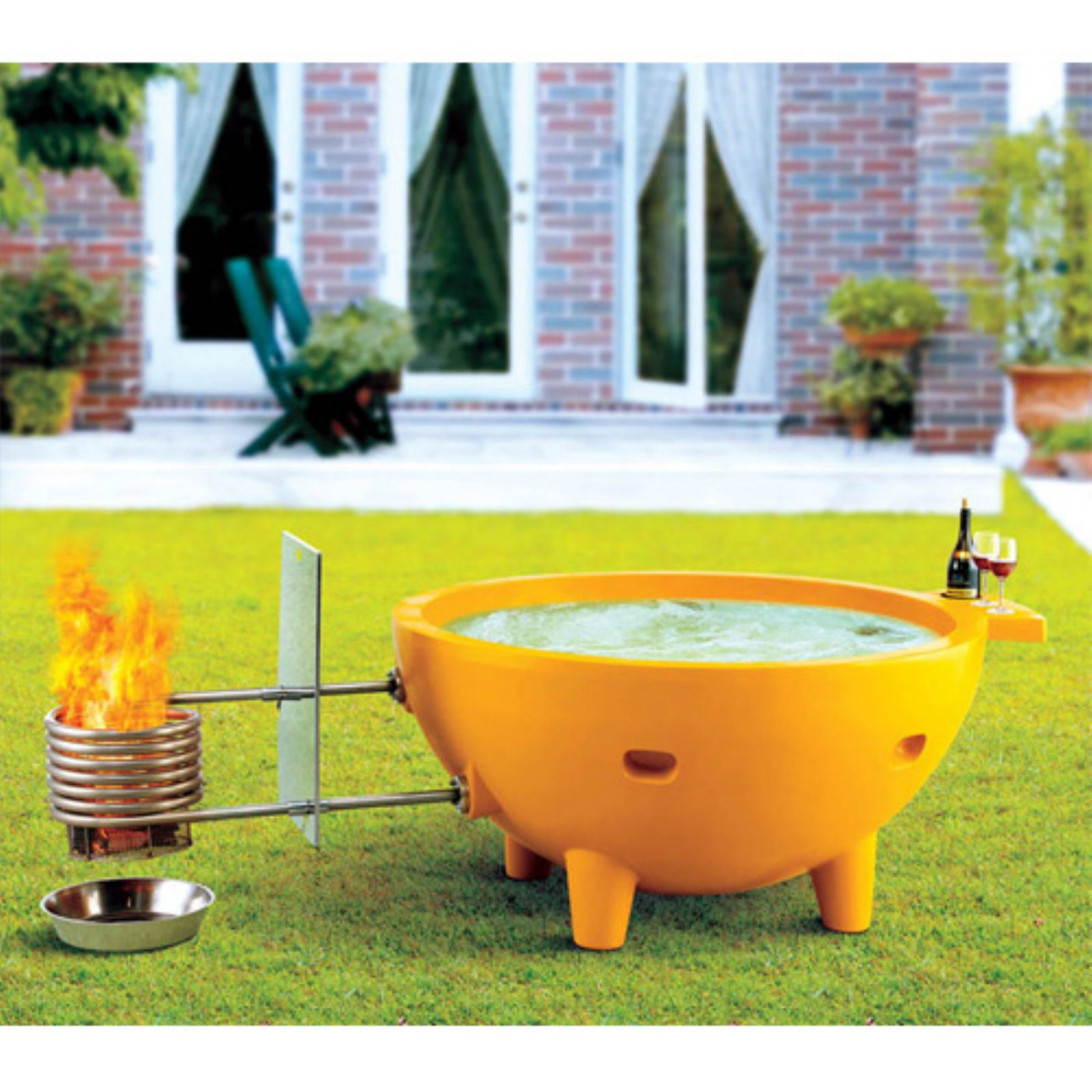 ALFI brand Green FireHotTub The Round Fire Burning Portable Outdoor Hot Bathtub by Hot Tubs