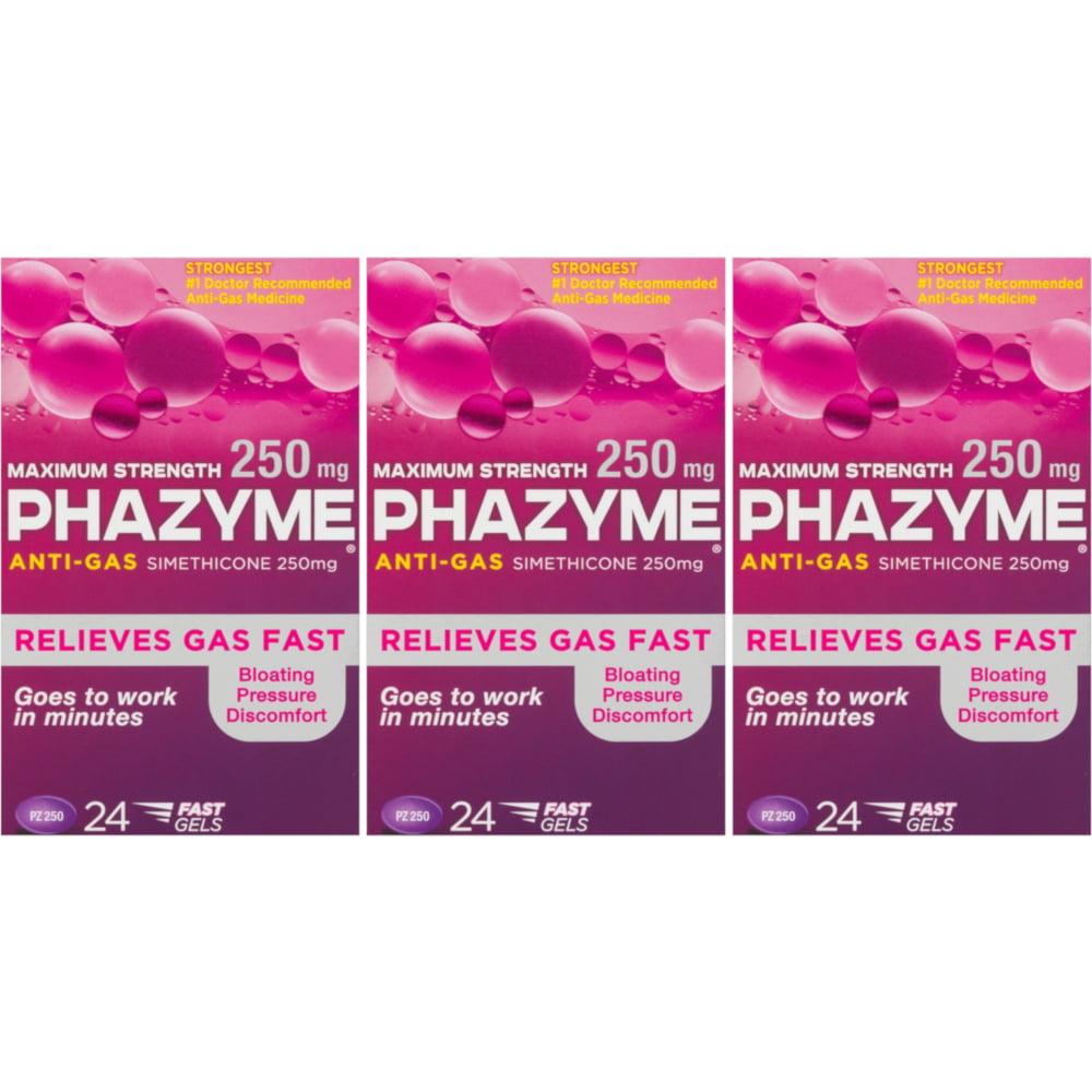 3 Pack - Phazyme Maximum Strength 250 MG Softgels, 24 Each
