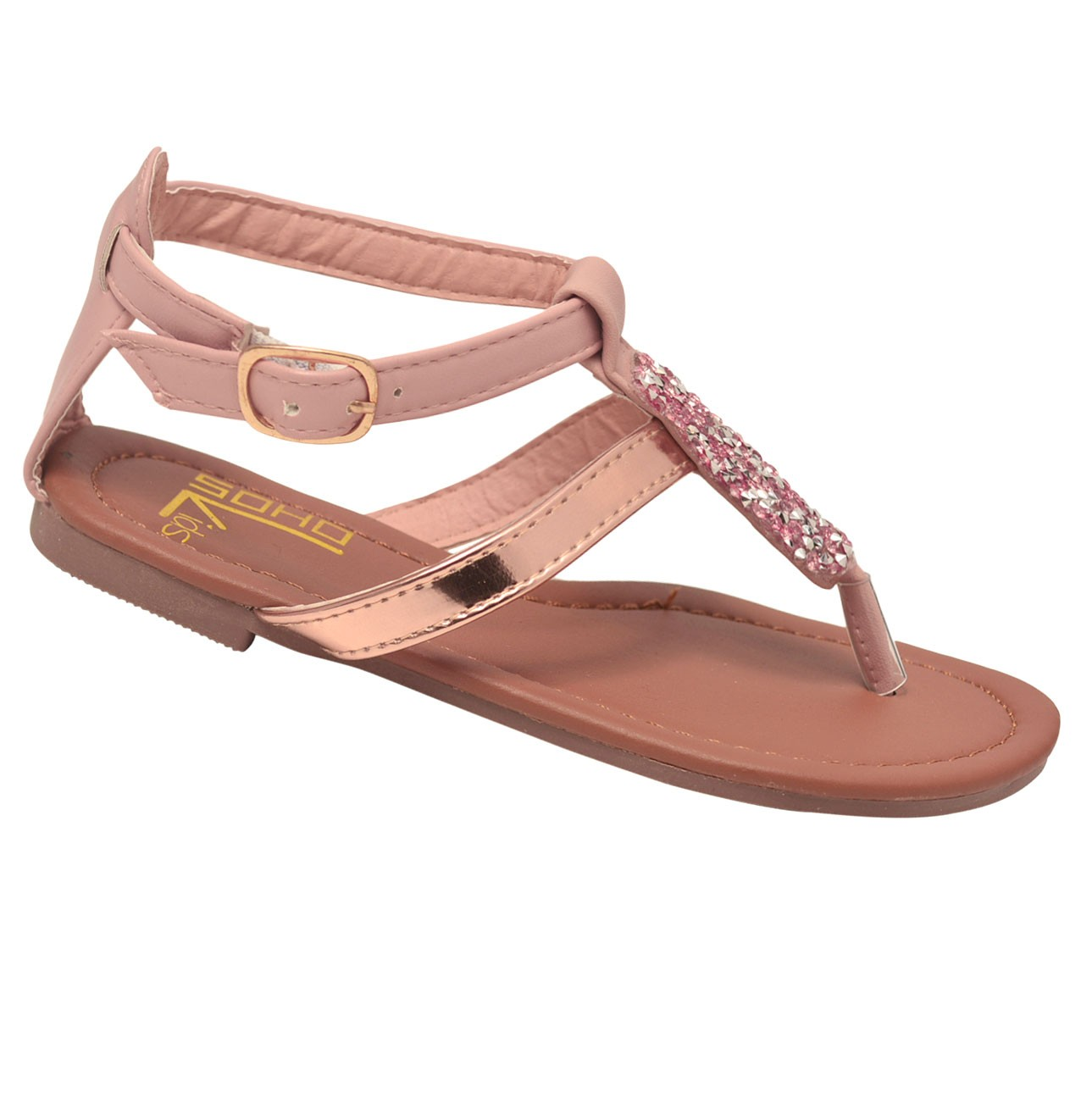Soho Kids Girls Rose Gold Multi Glitter Thong Flip-Flop Sandals