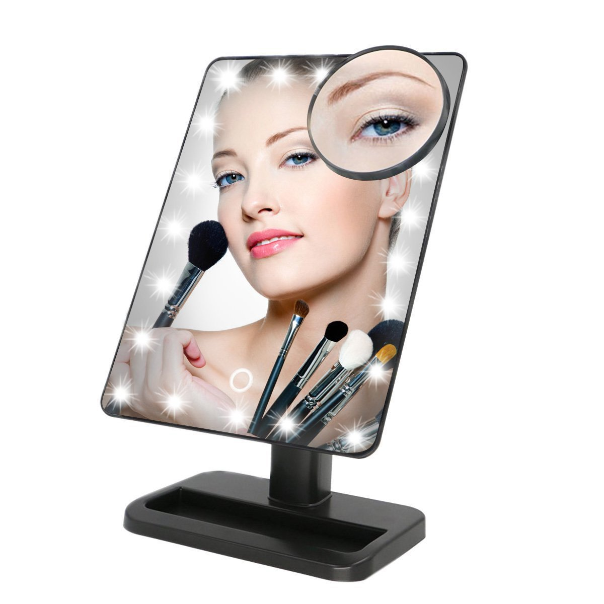 20LED Touch Light Illuminated Cosmetic Desktop Vanity Mirror Beauty Tabletop Mirrors For Lady Women Makeup with 10x Magnifying Mirrors 180 degree rotation (Battery Not Included)