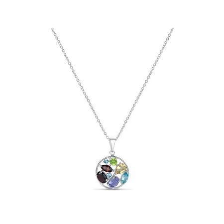 Genuine Multiple Gemstone Sterling Silver Circle 18mm Pendant, (Multiple Gemstone Pendant)