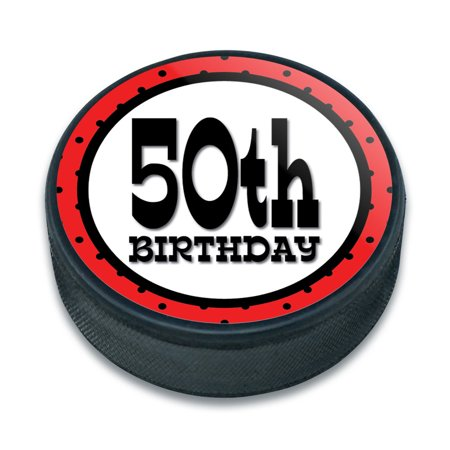 50th Fiftieth Birthday Red Black Polka Dots Ice Hockey Puck