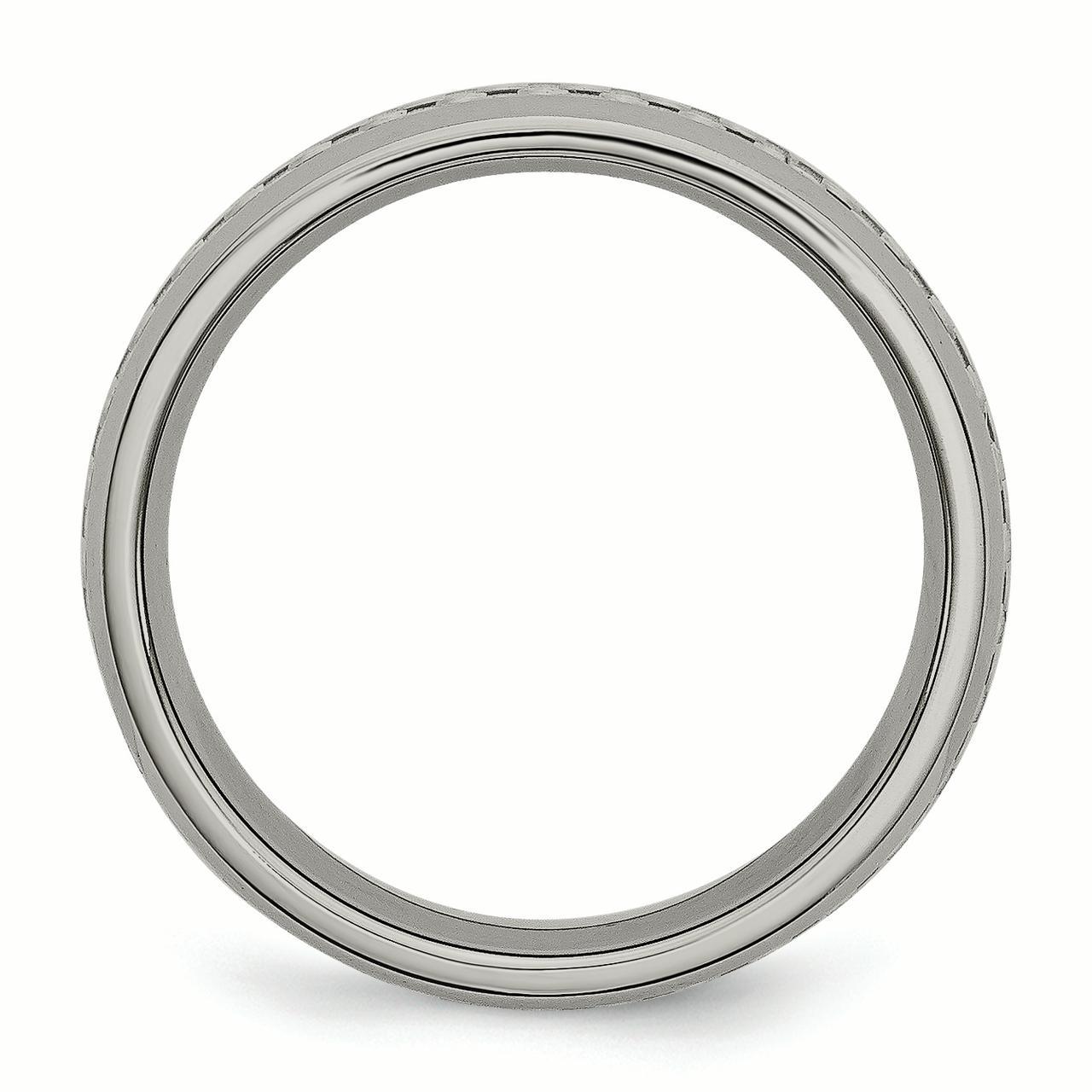 Box Titanium /& Grey Carbon Fiber 6mm Polished Band