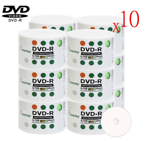 6000 Pack Smartbuy 16X DVD-R 4.7GB 120Min White Thermal
