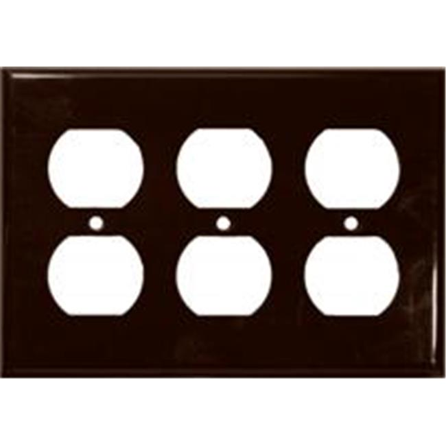 Morris Products 81432 Lexan Wall Plates 3 Gang Duplex Receptacle Brown