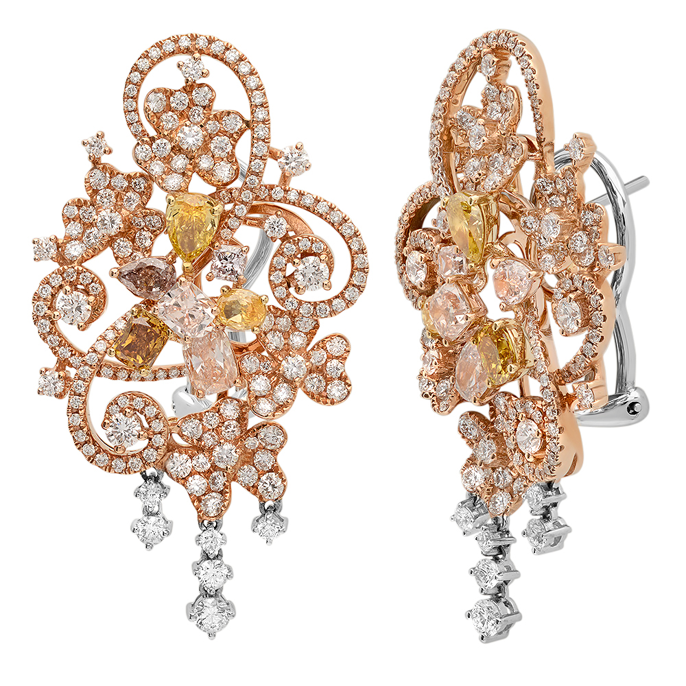 18K THREE TONE GOLD 5.96CTW MULTICOLOR DIA AND PINK DIAMOND AND DIAMOND EARRING by
