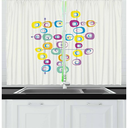 Mid Century Curtains 2 Panels Set, Hippie Artistic Squares on Intersecting Lines Colored Cool and Crazy Themed Art, Window Drapes for Living Room Bedroom, 55W X 39L Inches, Multicolor, by Ambesonne](Hippie Door Curtain)