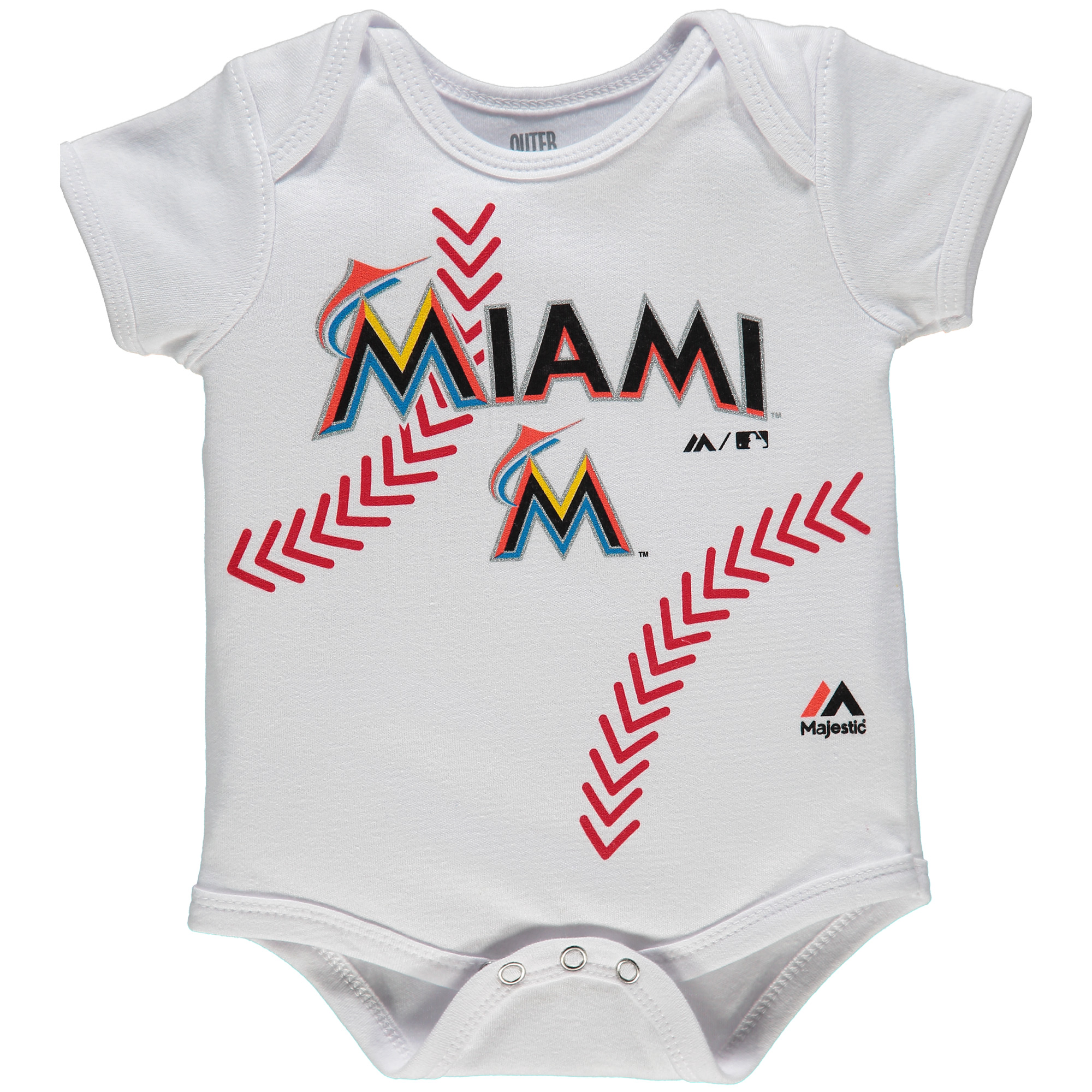 Miami Marlins Majestic Newborn Stitches Baseball Bodysuit - White