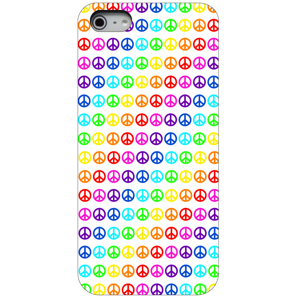CUSTOM Black Hard Plastic Snap-On Case for Apple iPhone 5 / 5S / SE - White Rainbow Peace Signs