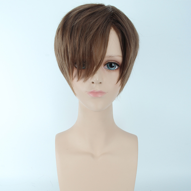 Beautiful Male Black Short Straight Hair Wig/Wigs Cosplay Party Color:light brown