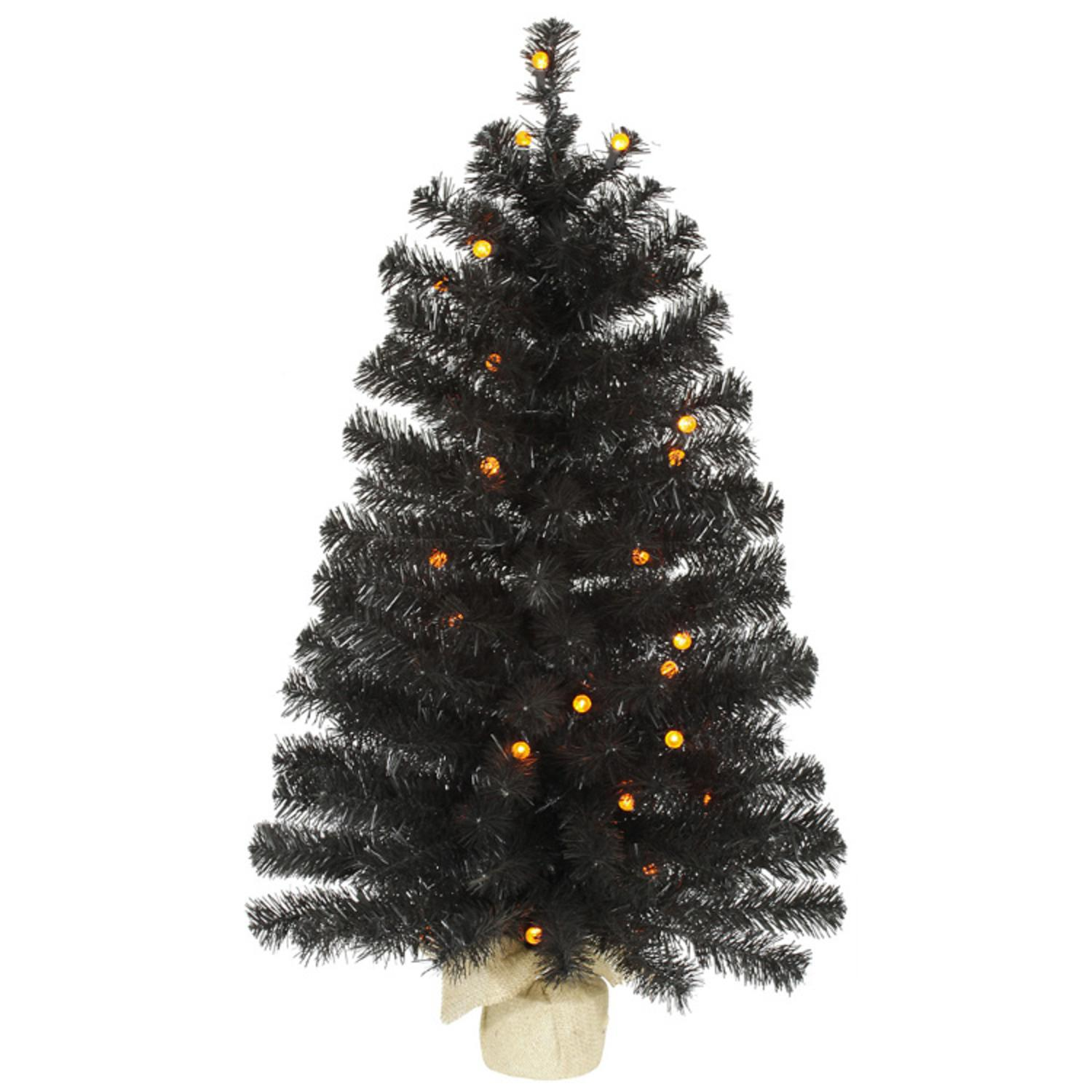 3 Pre Lit Black Pine Artificial Halloween Christmas Tree Orange