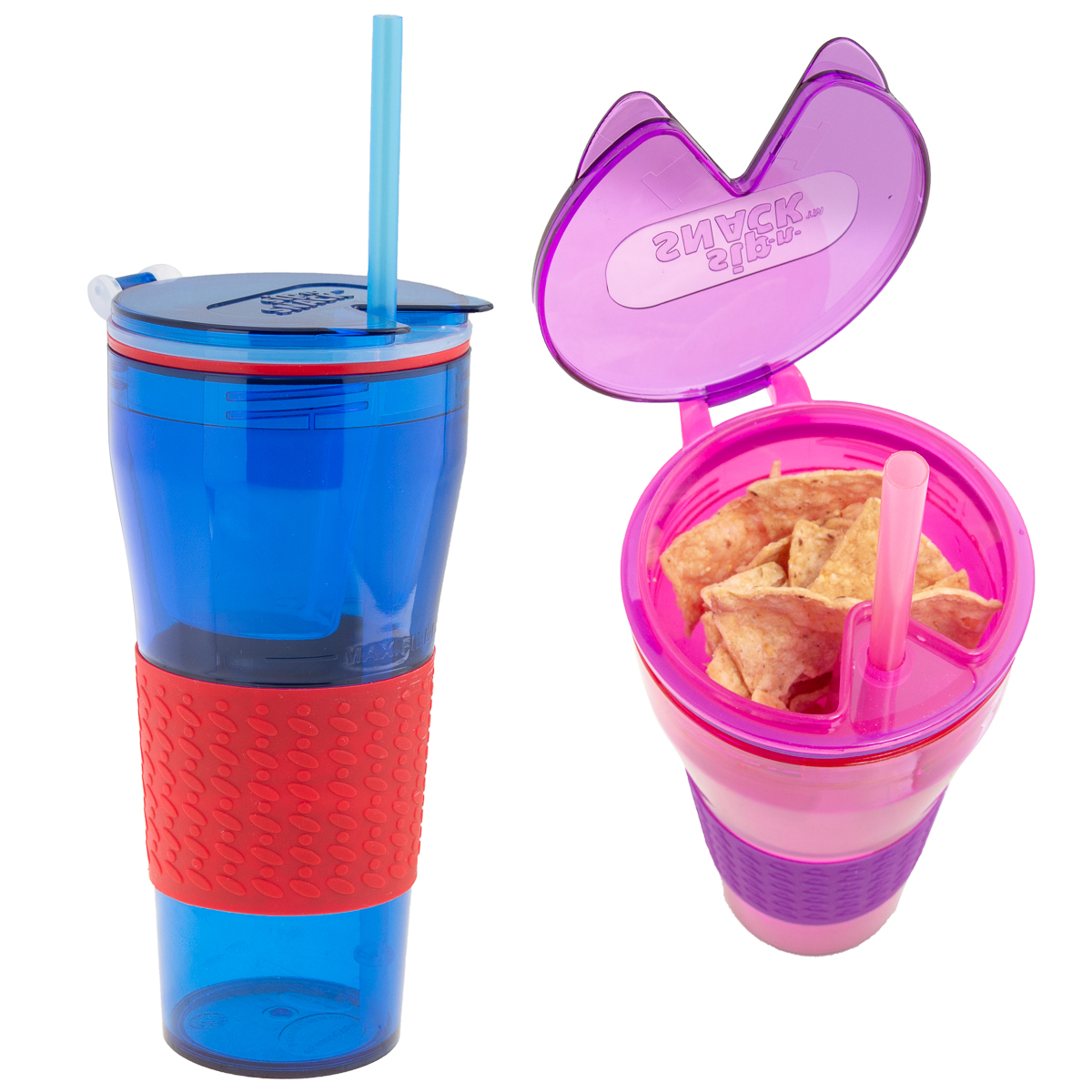 Sip-N-Snack (2 Pack) 2-in-1 Kids Cups BPA-Free With Straws & Reusable Snack Container With Lids Snack Cup for... by Sip-N-Snack
