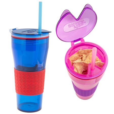 Sip N Snack 2 Pack In 1 Kids Cups BPA Free With Straws Reusable Container Lids Cup For Boys Girls Travel