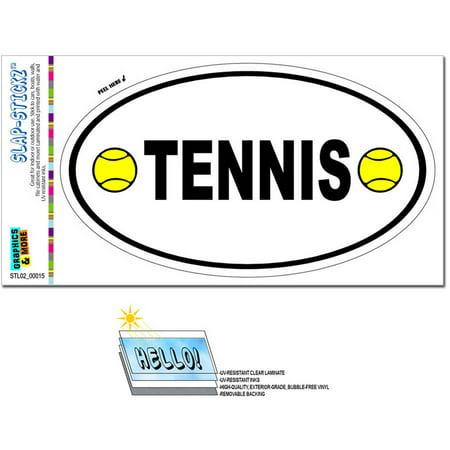 Tennis With Balls Euro Oval Automotive Car Window Locker Bumper Sticker