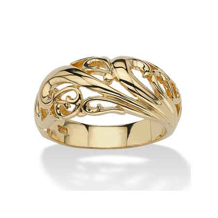 18k Gold over Sterling Silver Swirl Dome Ring ()