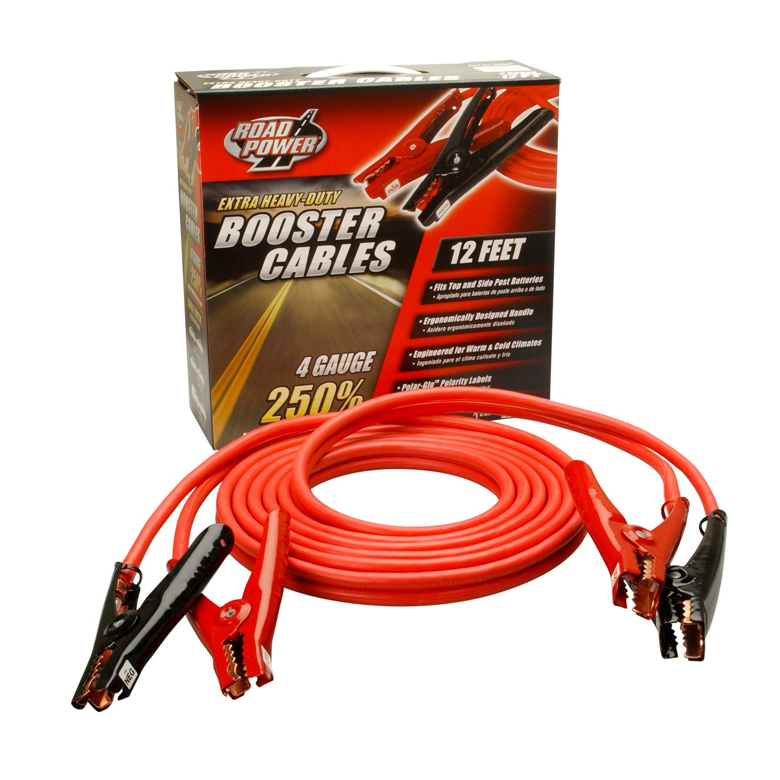 Coleman Cable 08665 12' Heavy-Duty Truck and Auto Battery Booster Cables with Polar Glow Clamps, 4-Gauge