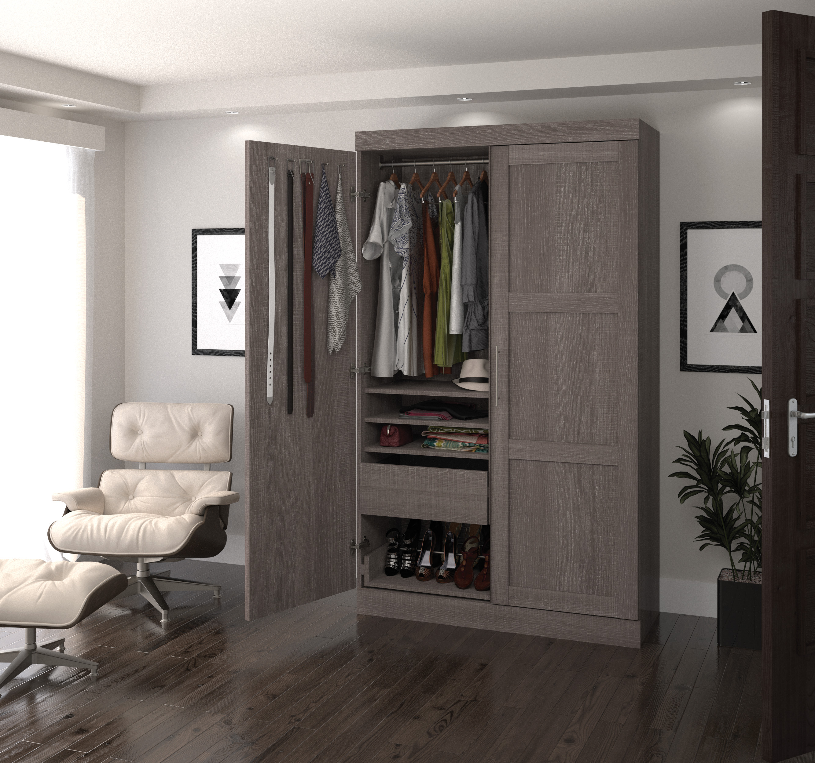 Pur by Bestar Pullout Armoire in Bark Gray