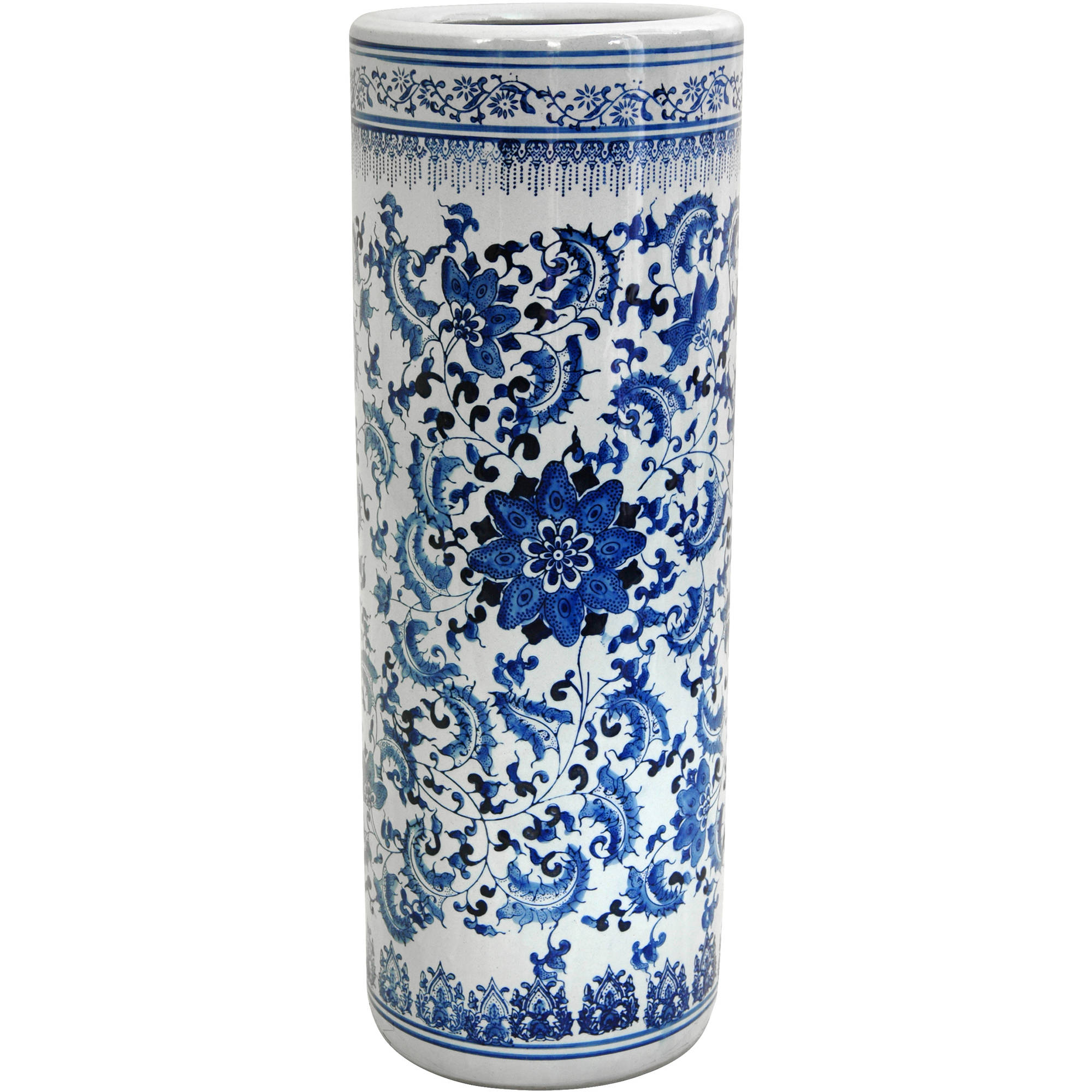 "24"" Floral Blue & White Porcelain Umbrella Stand by Oriental Furniture"