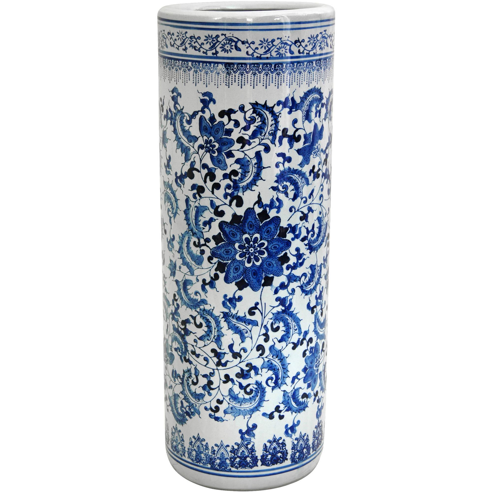 "24"" Floral Blue & White Porcelain Umbrella Stand"